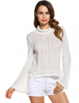 Femmes blanches Casual manches longues col haut solide Pullover mince Blouse