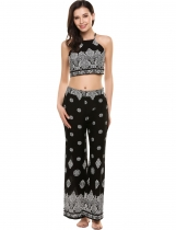 Black Backless Printed Sleeveless Crop Top and Pants Suit