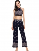 Navy blue Backless Printed Sleeveless Crop Top and Pants Suit