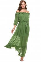 Sinople Volants des femmes au grand de l'épaule 3/4 manches mousseline Split Beach Maxi Dress