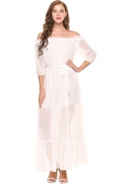 White Volants des femmes au large de l'épaule 3/4 manches mousseline Split Beach Maxi Dress