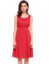 Dark red O-Neck Sleeveless Solid Back Zipper Pleated Dress