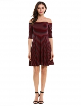 Red Women's Off the Shoulder 3/4 Sleeve Striped Casual Pleated Dress