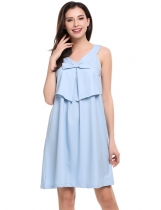 Skyblue Sleeveless Solid V Neck Pullover Evening Party A-Line Dress