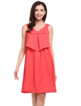 Watermelon red Sleeveless Solid V Neck Pullover Evening Party A-Line Dress