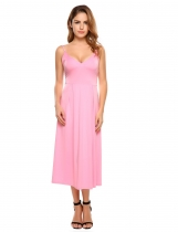 Pink Spaghetti Strap Solid Backless Slim Maxi Dress