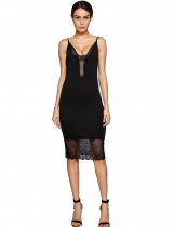 Black Lace Patchwork Adjustable Spaghetti Straps Dress