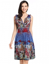 Blue Vintage Style Low-cut V-neck Printed Sundresses