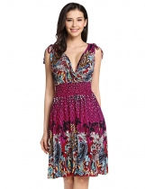 Rose red Vintage Style Low-cut V-neck Printed Sundresses