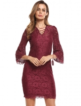 Wine red Floral Lace Dress with Cami Lining 2PCS Set