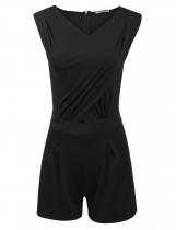 Black Sleeveless Bodysuit Pleated Tunic Corss Front Solid Slim Rompers