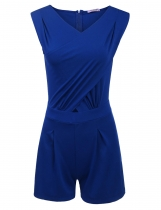 Blue Sleeveless Bodysuit Pleated Tunic Corss Front Solid Slim Rompers