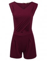 Wine red Sleeveless Bodysuit Pleated Tunic Corss Front Solid Slim Rompers