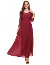 Wine red 3/4 Sleeve Lace Patchwork O Neck Wedding Bridesmaid Dresses