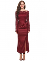 Wine red Slash Neck Lace Patchwork Bodycon Maxi Dresses