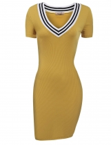 Yellow Short Sleeve Rib Fabric V Neck Pencil Knit Going Out Dress