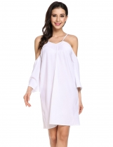 White Elegant Cold Shoulder Flare Sleeve Loose Mini Dress