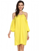 Yellow Elegant Cold Shoulder Flare Sleeve Loose Mini Dress