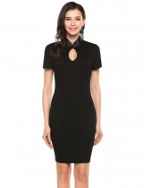 Black Keyhole Stand Collar Short Sleeve Bodycon Pencil Going Out Dress