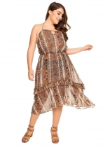 Leopard Plus Size Halter Asymmetric Hem Backless Dress