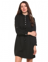Black Stand Collar Waist Adjustable Drawstring Tunic Front Pleated Dress