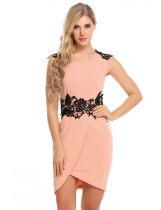 Pink Sleeveless Floral Lace Slit Bodycon Dress