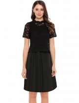 Black Solid Sleeveless A Line Dress with Hollow Lace Blouse Set