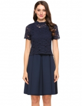 Dark blue Solid Sleeveless A Line Dress with Hollow Lace Blouse Set