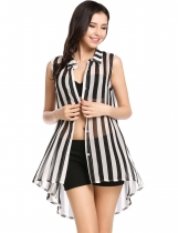 Black white stripe Sleeveless See-through Chiffon Button Down Collar Striped Loose Smock