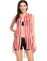 Red White Stripe Sleeveless See-through Chiffon Button Down Collar Striped Loose Smock