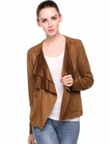 Brown Turn Down Collar Vintage Lightweight Open Stitch Faux Suede Coat