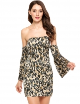 Noir Femmes Casual Flare Sleeve Off Shoulder Animal Print Bodycon Pencil Dress