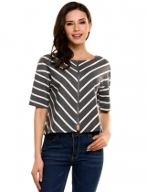Gray Front Back Double Zip Contrast Color Striped O-Neck Short Sleeve Tops