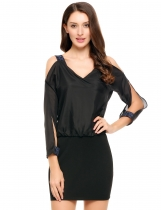 Noir Femmes Casual Slit Sleeve Off Shoulder Sequins Chiffon Patchwork Dress