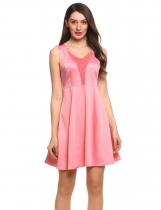 Pink Sleeveless Lace Patchwork V-Neck Skater Dress