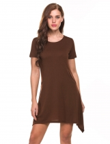 Brown Solid Asymmetrical Pleated Hem Elastic Short SleeveDress with Pockets