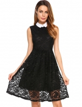 Black Vintage Style Turn Down Collar Sleeveless Floral Lace Dress