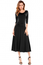 Black O-Neck Solid Ruched A-Line Elastic Maxi Dress