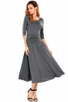 Gray O-Neck Solid Ruched A-Line Elastic Maxi Dress