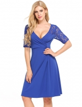 Blue V-Neck Lace Hollow Out Patchwork Elastic Dress
