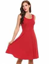 Red New Women Vintage Styles O-Neck Sleeveless Tunic Solid A-Line Pleated Hem Tank Dress