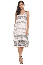 Blanco Mujeres Casual V-cuello doble correa de espagueti Multi Layers Loose Dress