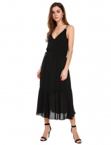 Black Spaghetti Strap Drawstring Solid Maxi Dress