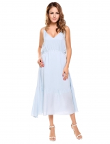 Light blue Spaghetti Strap Drawstring Solid Maxi Dress