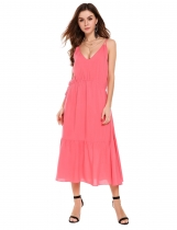 Pink Spaghetti Strap Drawstring Solid Maxi Dress