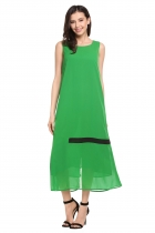 Green O-Neck Sleeveless Patchwork Zipper Contrast Color Dress