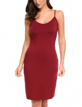 Wine red Sleeveless Solid Spaghetti Straps Mini Slim Dress