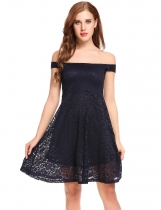 Dark blue Slash Neck Off Shoulder Floral Lace A-Line Pleated Hem Dress