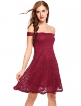 Wine red Slash Neck Off Shoulder Floral Lace A-Line Pleated Hem Dress