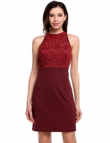 Wine red Stand Collar Sleeveless Lace Patchwork Hollow Out Elastic Slim Package Hip Dress